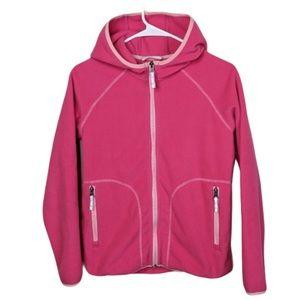 Hanna Andersson pink fleece zip up jacket Girl 12